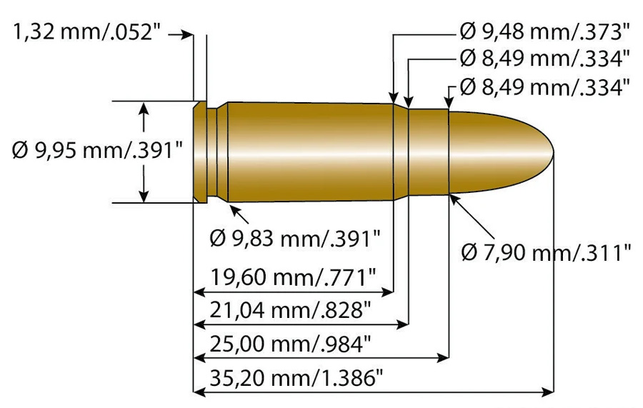 Размеры патрона 7,62х25 мм ТТ