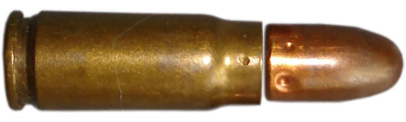 Патрон 7,62х25 мм ТТ разобранный