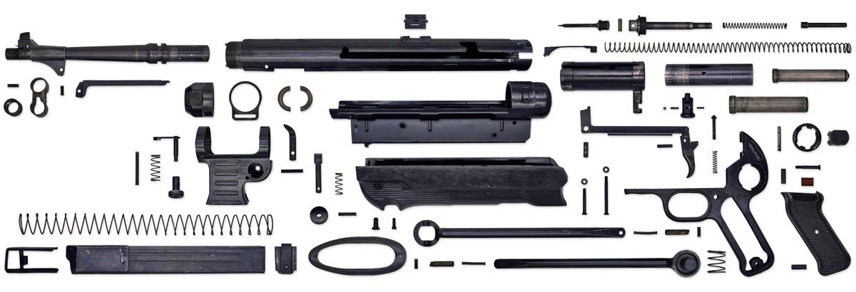 Пистолет-пулемет MP-40 в разобранном виде