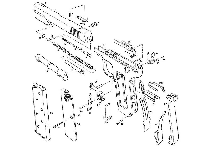 Пистолет Colt M1903. Конструктивные детали