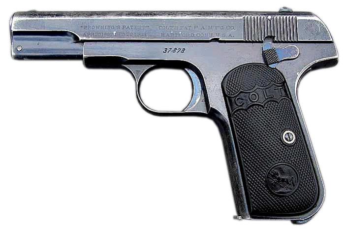 Пистолет Colt M1903 вид слева