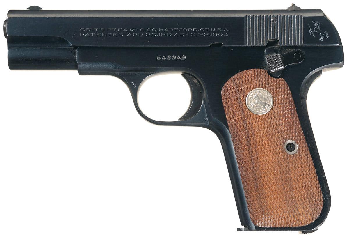 Пистолет Colt M1908 вид слева